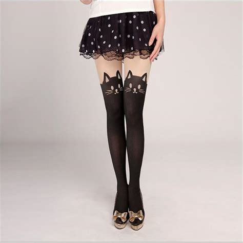 cat pattern tights 2018 women pantyhose tights cat pattern leggings leotard