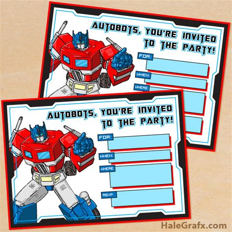 transformer invitation template free printable g1 transformers birthday invitation
