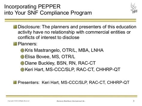 Compliance Mba Programs by Incorporating Pepper Into Your Snf Compliance Program