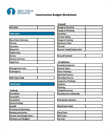 House Building Budget Spreadsheet by Printables Construction Budget Worksheet Gozoneguide