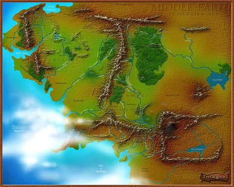 3d map of middle earth www tolkien maps