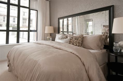 how to make a mirrored headboard mirrored headboards transitional bedroom the cross