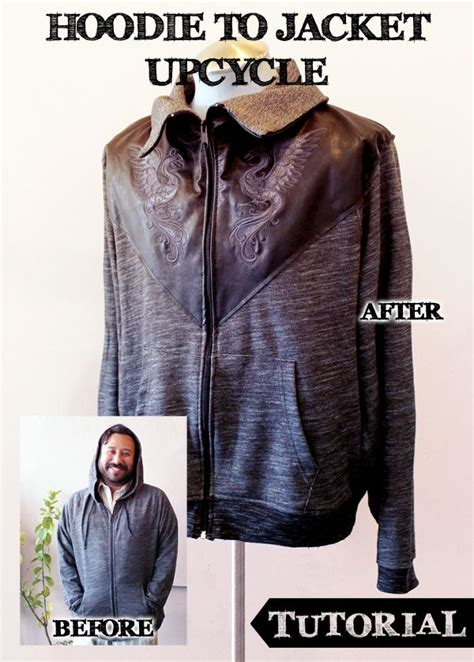 Hoodie Jaket Sweater One Of A Keren tutorials threads upcycle a hoodie into this stylish leather accented jacket