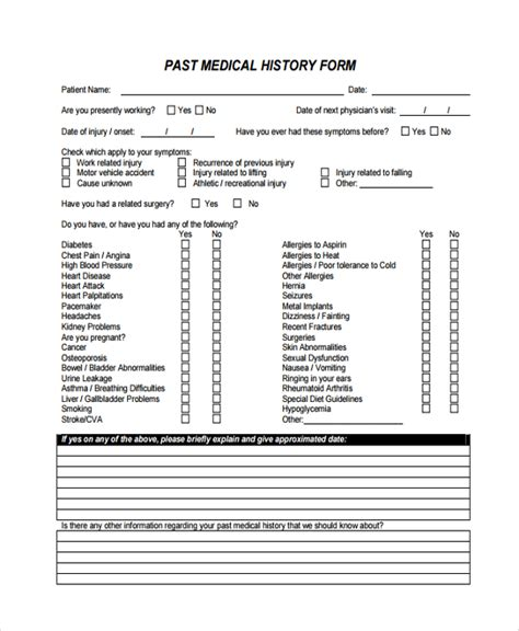 sle medical history template 9 free documents
