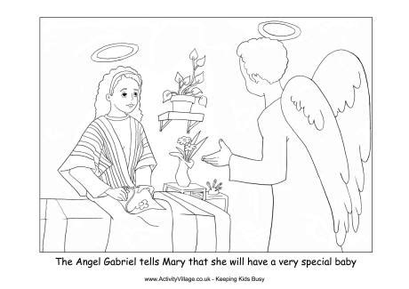 nativity colouring angel gabriel visits mary