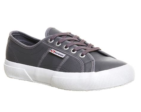 womens superga 2750 charcoal leather trainers shoes ebay