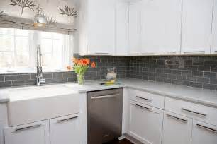Gray Kitchen Backsplash White Kitchen Cabinets With Gray Subway Tile Backsplash