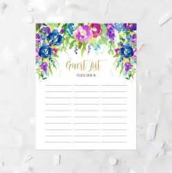 Bridal Shower Guest List by Floral Guest List Printable Guest List Sign In Sheet Lavender Violets Guest List Baby Shower