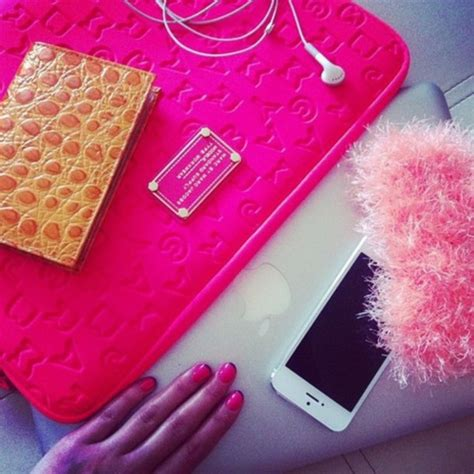 light pink apple laptop bag laptop pink fluffy apple computer gold nails