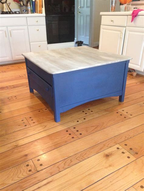 coffee table painted wit chalk paint by sloan napoleonic blue driftwood top