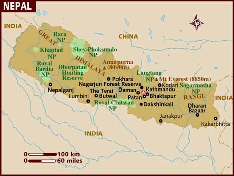 where is nepal on the map map of nepal