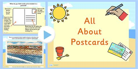 post card template twinkl eyfs all about postcards powerpoint post discussion prompts