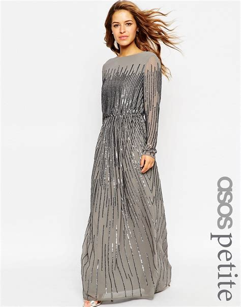 Longdress Maxi Siena asos linear sequin sleeve maxi dress uk 10 eu 38 us 6 ebay