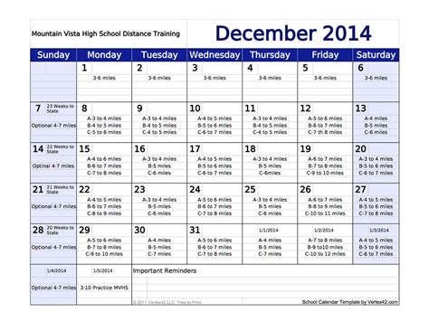 printable running schedule running schedule december calendar template 2016