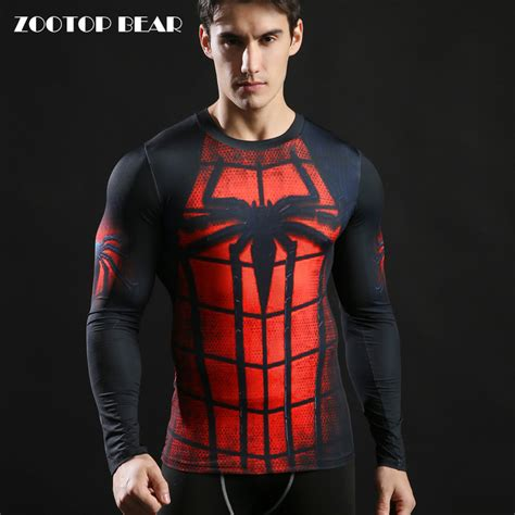 T Shirt Superman Spidey tops printed 3d compression fitness t shirt 2017 novelty casual