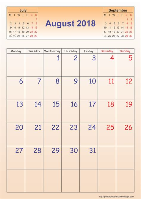 Calendar August 2018 August 2018 Calendar Template Portrait Printable 2017