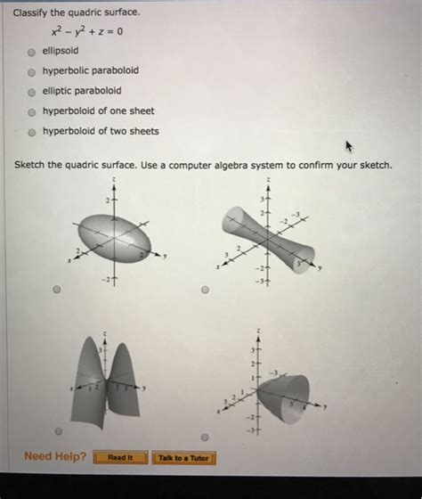 Drawing Quadric Surfaces by Solved Classify The Quadric Surface X 2 Y 2 Z 0 El
