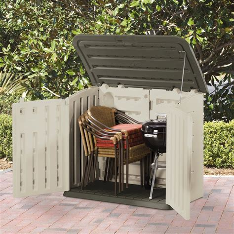 rubbermaid plastic horizontal outdoor storage shed