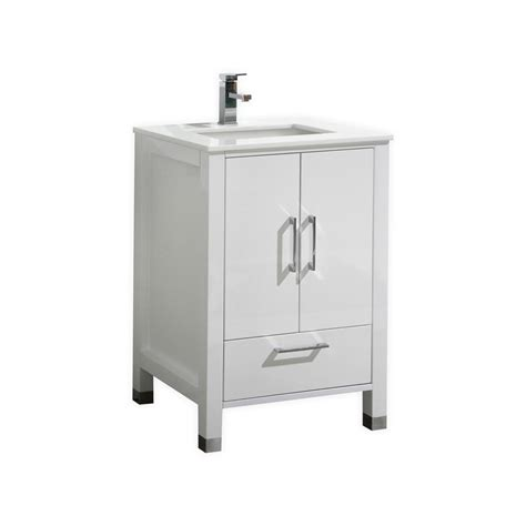 High Bathroom Vanities 24 Inch High Gloss White Contemporary Bathroom Vanity With White Quartz Top