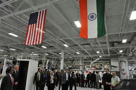 elon musk india pm modi visits tesla motors factory in us with elon musk