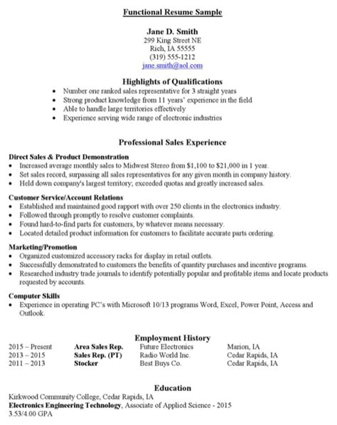 Resume Sles Excel Sales Functional Resume