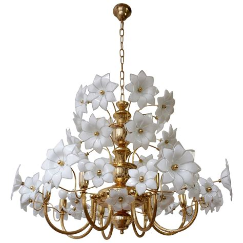Flower Chandelier Brass And Murano Glass Flowers Chandelier For Sale At 1stdibs