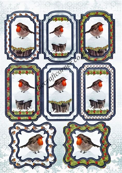 Die Cut Foil Robin Toppers And Backing Card From