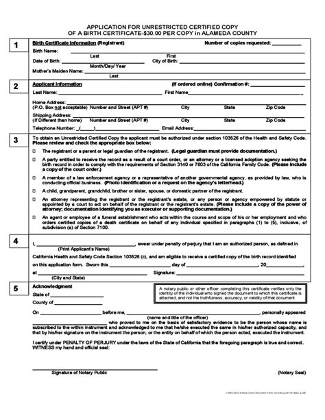 Records Alameda County Birth Certificate Order Form Alameda County Free