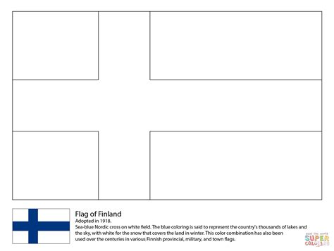 flag of finland coloring page free printable coloring pages