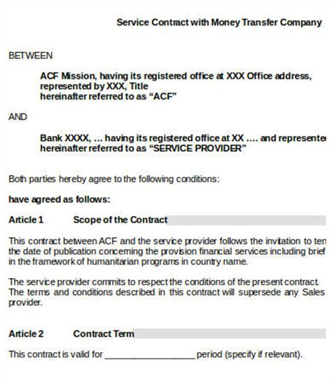 service contract templates  word  google docs apple pages   premium