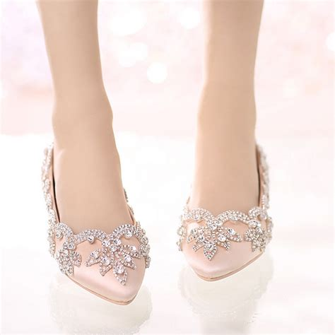 flat dress shoes for prom chagne satin bridal wedding dress shoes flat heel