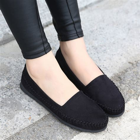 Flat Shoes Wanita Suede Lucuunikmurah shoes 2016 soft suede lleather flats loafers lovely flat shoes slip on driving