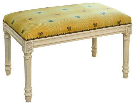 antique white bench yellow butterfly upholstered wooden bench antique white
