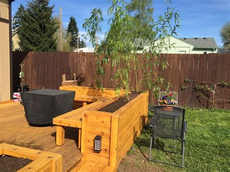 Backyard Deck Photos Deck With Planter Boxes And Built In Bench Planted Bamboo