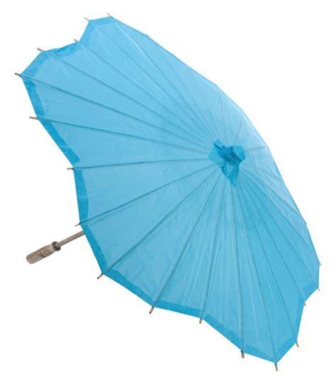 Paper Umbrella - 32 quot turquoise scallop shaped paper parasol umbrellas on