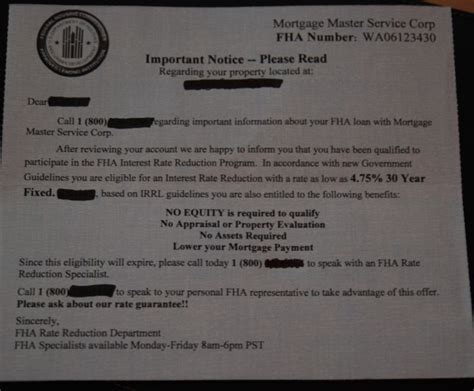 Mortgagee Letter For Streamline Refinance From The Junk Mail Bag