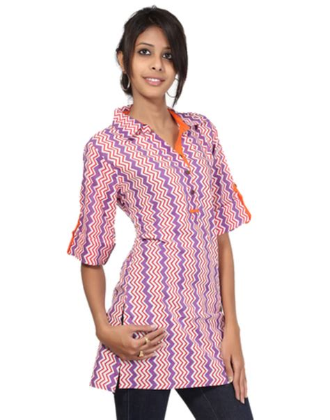 pattern making of ladies kurti buy orange zig zag pattern cotton printed women kurti online