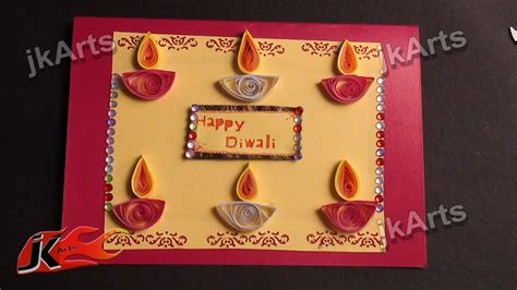 how to make diwali card diy paper quilling greeting card for diwali jk arts 335