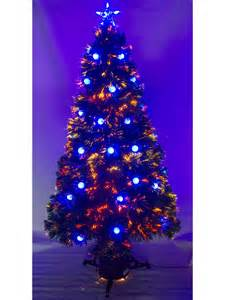 5ft 6ft pre lit fibre optic christmas tree with led baubles star xmas decoration ebay