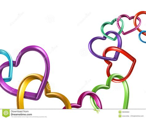 3d colorful hearts linked together into chain stock photo