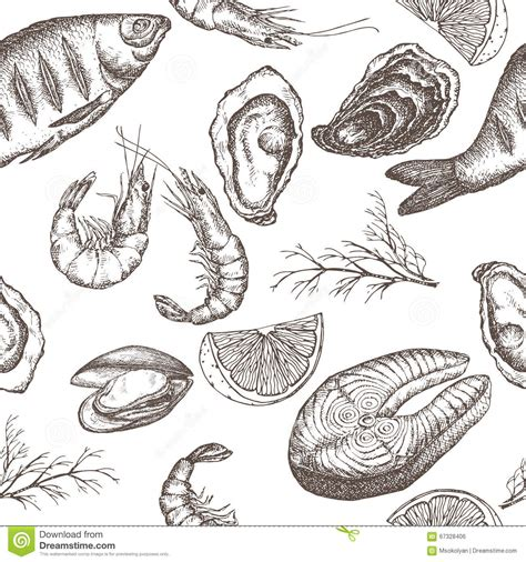 Seamless Pattern Hand Drawn Seafood | hand drawn seafood vector seamless pattern stock vector