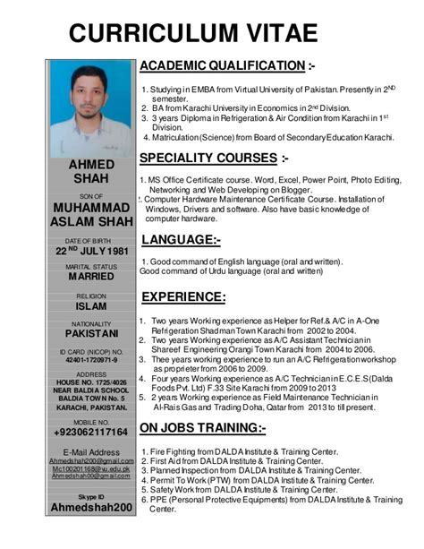 resume format for ac technician resume for ac technician resume ideas