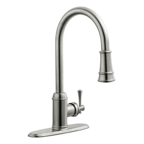 Single Handle Kitchen Faucet With Pull Out Sprayer Design House Ironwood Single Handle Pull Out Sprayer Kitchen Faucet In Satin Nickel 524702 The