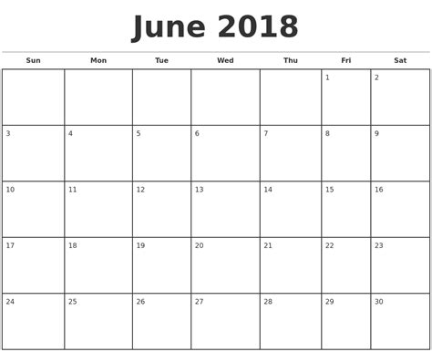 june 2018 calendar template 2018 calendar printable