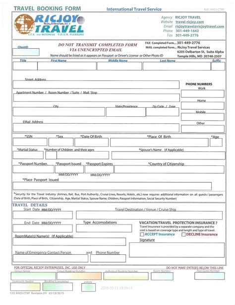 Credit Application Form Travel Agency Forms