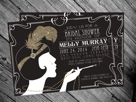 great gatsby themed invitation template 1920 s gatsby flapper bridal shower invitation by