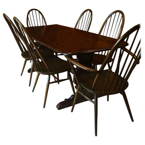 Vintage Ercol Dining Table With Six Chairs Solid Elm Ercol Dining Room Furniture