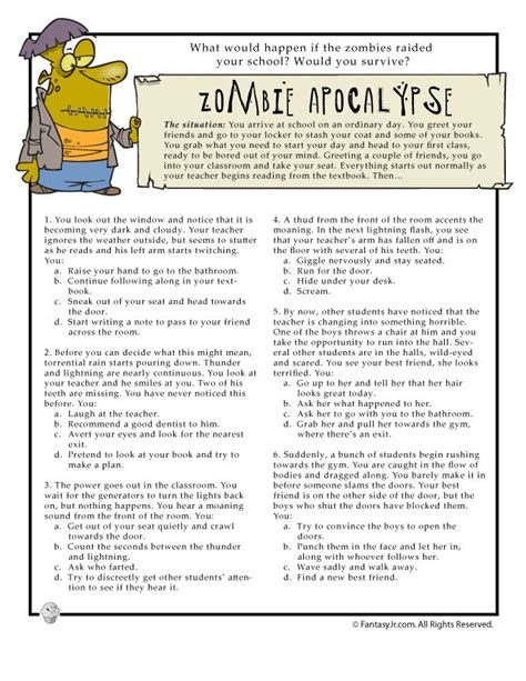 the zombie apocalypse survival guide for teenagers printable fun quizzes would you survive fun quiz page 1