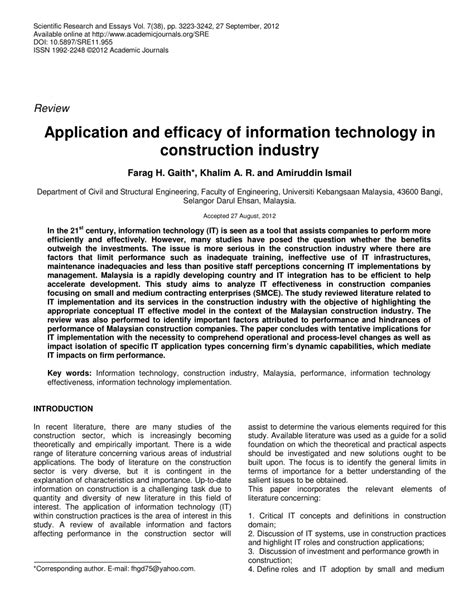 application and efficacy of information technology in construction industry pdf available