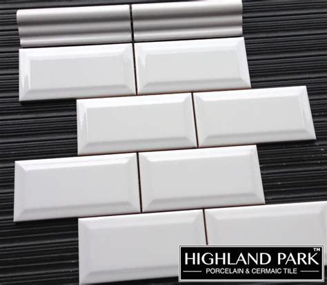 beveled 3x6 quot white ceramic subway tile contemporary
